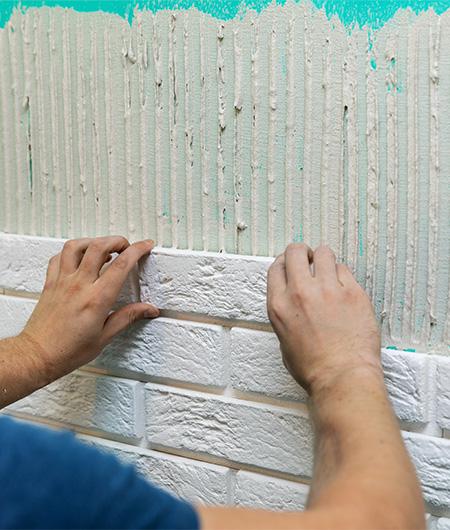 Pose de briques de parements intérieur à Tourcoing, Lille